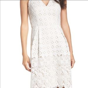 New Adrianna Papell White Lace Fit an Flare Dress